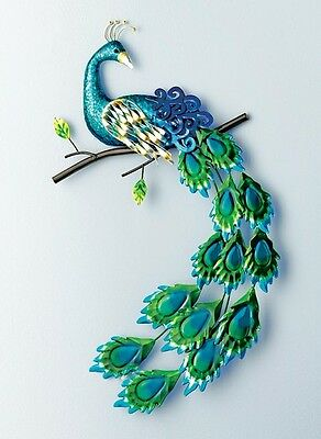 Pretty Peacock Wall Art Hanging Whimsical Metal Sculpture Indoor Gift Decor New