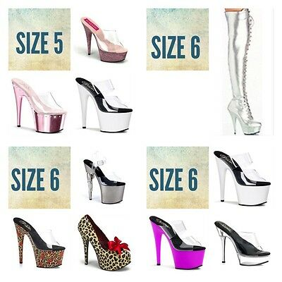Wholesale Lot 14 Pairs 5 6 PLEASER Stripper Exotic Dancer Tony Shoes Boots Heels