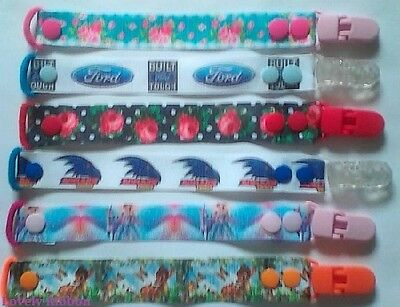 1 x DUMMY CLIP, Hand Made, Boys, Girls, Ribbon, Pacifiers Baby, Ford, Rose