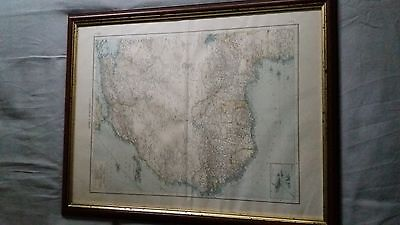 Antique Vintage Map 1900 Produced By The Times Framed Africa North West Sahara