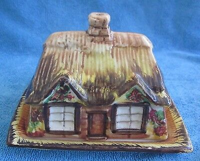 vintage PRICE BROS. Cottage Ware BUTTER DISH Thatched Cottage Cover & Underplate