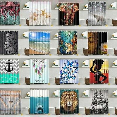 Waterproof Polyester Fabric Various Pattern & 12 Hooks Bathroom Shower Curtain G