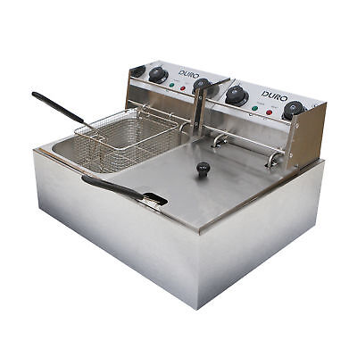 10L Duro Commercial Electric Twin Deep Fryer Double w/ Frying Basket Chip Cooker