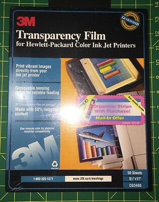 New 3M Transparency Film for HP Hewlett-Packard Color Ink Jet Printers 50 CG3460