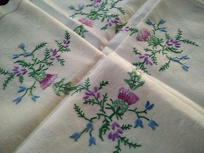 Thistles/Heather/Harebells 'Bonnie Scotland'~Vintage Hand Embroidered Tablecloth
