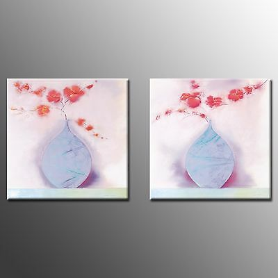 FRAMED Canvas Print Flower Painting Picture Modern Wall Art For Living Room-2pcs
