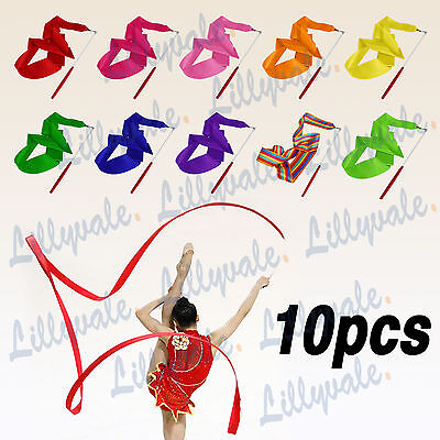 10PCS Gym Ribbon Stick Gymnastic Streamer Twirling Rod Rhythmic Ballet Dance 4M