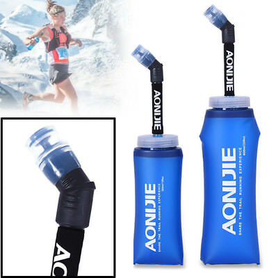AONIJIE 350/600ML Foldable Soft Water Bottle +W/ Straw for outdoor sports