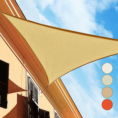 Outsunny Voile d'Ombrage Triangulaire Anti-UV HDPE Beige/Sable/Crème/Rouge