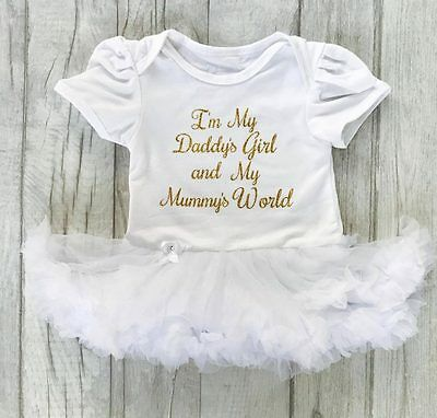 DADDYS GIRL MUMMYS WORLD White TUTU Romper Dress BABY GIRL FATHERS DAY Present