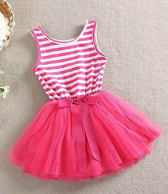 HOT PINK Striped Tutu SUMMER DRESS Bow BABY GIRL DRESSES Princess Party Present