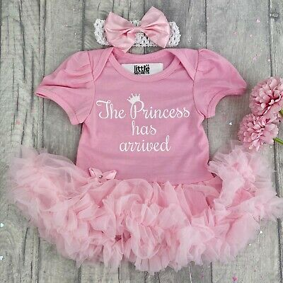 BABY GIRL PRINCESS Has Arrived PINK Tutu romper Dress NEWBORN Present Love Gift