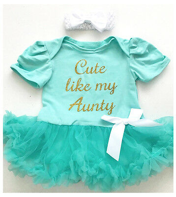 BABY GIRL'S Cute AUNTY TUTU ROMPER Dress Princess NIECE Newborn Gift Love FAMILY