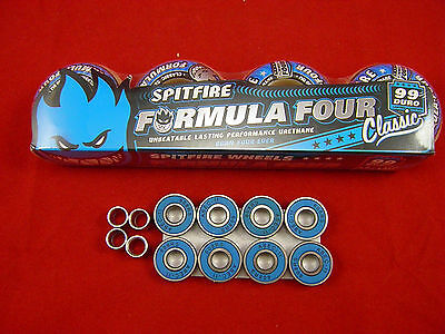 SPITFIRE F4  CLASSIC 52mm /99 DURO - SKATE BOARD WHEELS + ABEC 11's