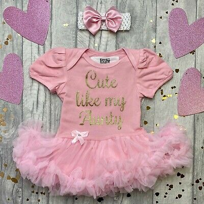 BABY GIRLS Cute Like My Aunty TUTU ROMPER Dress Newborn Princess Gift Love NIECE