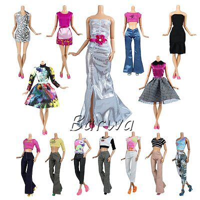 Lot 10 Set Fashion Handmade Clothes Outfit + 10 Pairs Shoes For Barbie Doll
