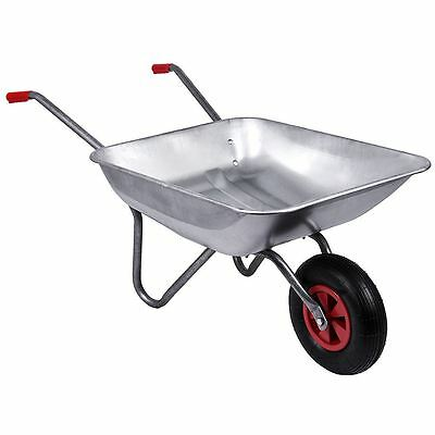 Wheelbarrow Garden Galvanised Wheel Barrow Pneumatic Tyre Heavy Duty Gardening