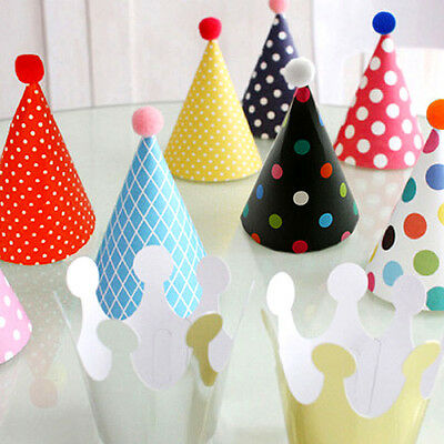 11Pcs/Set Kids Crown Cap Dot With Hairball Papery Headdress Birthday Party Hats
