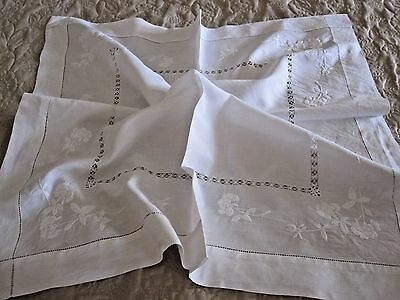 Lovely Vintage White Linen Tablecloth With Hand Embroidery And Drawn Thread Work