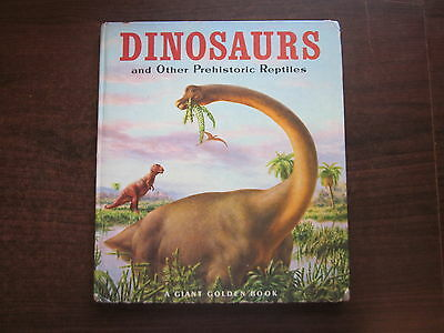 THE GIANT GOLDEN BOOK OF DINOSAURS AND OTHER PREHISTORIC REPTILES Hardcover 1982