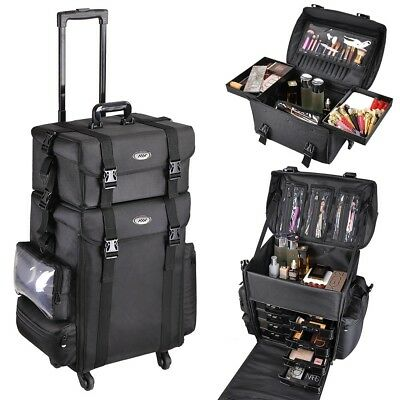 Pro 2in1 Soft Sided Rolling Makeup Case Oxford Train Bag Cosmetic Organizer Box