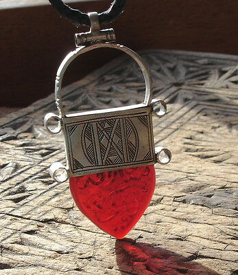 Silver men's red Niger Tuareg large hand engraved  pendant with leather tie