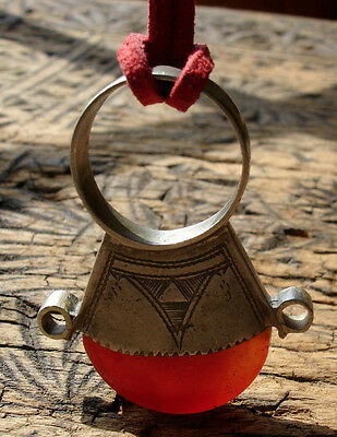Niger Tuareg hand engraved  agate pendant or ring with tie