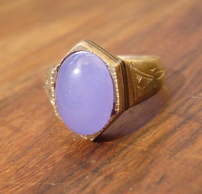 Men's Niger Tuareg hand engraved bluey purply agate ring   UKY US 12.25
