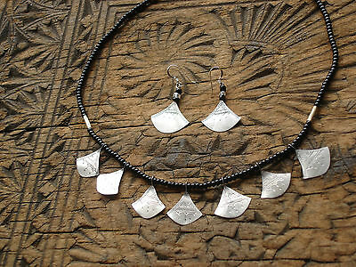 Niger  Tuareg engraved  drop triangle necklace and earring set with black beads