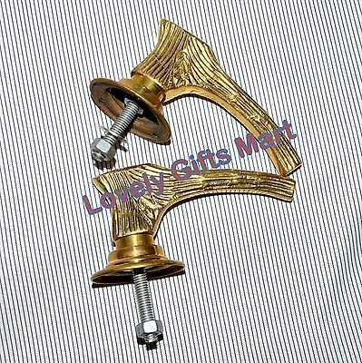 Retro Brass Door Knobs Handles Pair Backing Plates Style @