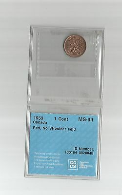 """1953 Small Cent From Canada Graded Ms-64  By Cccs  """"  Red """" Nsf""""  Bv $ 13.00"""