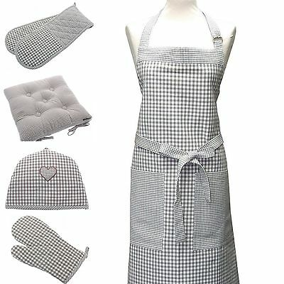 Beige Check Double Oven Gloves / Apron / Seat Pad / Gauntlet or Tea Cosy