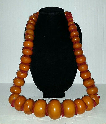 Antique Copal Amber 37 HUGE Beads for African Trade Necklace - 1020 G, 38-1/2""