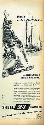 E- Publicité Advertising 1955 Motor oil Huile Moteur scooter Shell 2.T