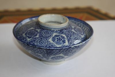 Antique Japanese Blue And White Bowl With Cover Circa 19Th Century