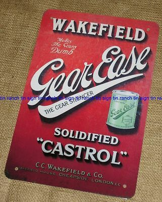 New WAKEFIELD CASTROL Gear Ease TIN SIGN Vintage style grease can Garage enamel