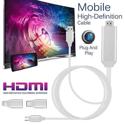 Apple Lightning Connect to HDMI TV AV Cable Adapter for iPhone 5 5S 6 6S 7 iPad