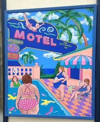 oil on canvas - Pop Art - Original - Signed - Motel