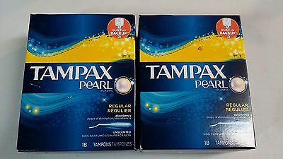 Tampax Pearl  Plastic Tampons, Regular Uncented 18 Count (2 Packs )