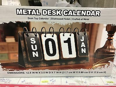 Metal Desk Calandar Distressed Finish Brand New In Box Never Opened