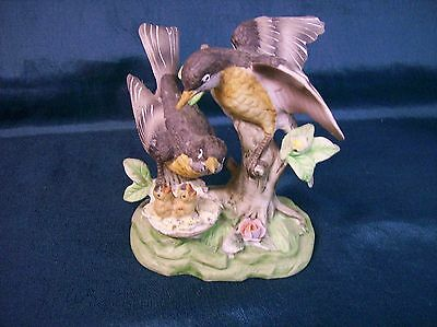 Vintage Ceramic Birds with Nest Figurine Hand Painted Norleans