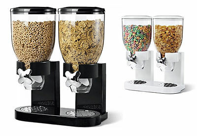 Black+White Double Cereal Dispenser Machine Dry Food Storage Container Uk Seller