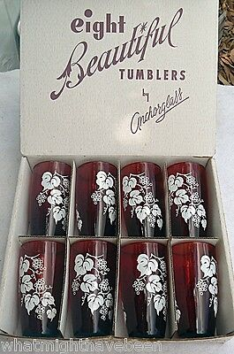Boxed Anchorglass 8 Ruby Tumblers Grape Leaf Design Anchor Hocking