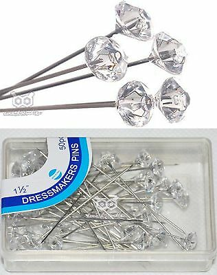 Crystal Diamante Hijab Scarf Pin Tailor Sewing Snag-Free Long Sparkle Pins Clear