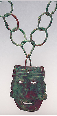 RARE Mixtec Copper Pendant Necklace Ancient Pre-Columbian Jewelry