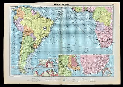1952 South Atlantic Ocean Routes Map Shipping Mail Ports Railway Routes RARE