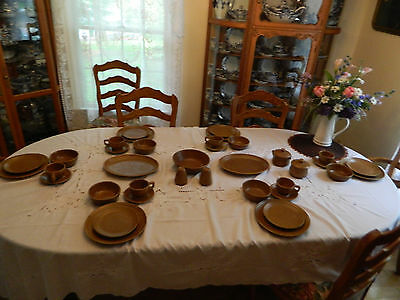 Monmouth USA Brown Speckled Stoneware Set for (6) w/7 Serving Pieces 8-1