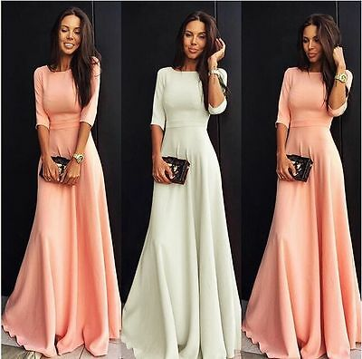 Women Long Chiffon Evening Formal Party Prom Ball Gown Maxi Dress New Size 6-16