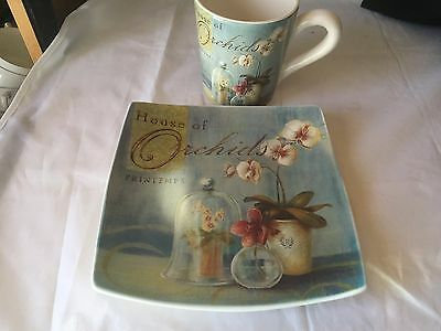 """Cypress Home Orchids Ceramic Coffee Tea Mug Cup 4.75"""" tall, Plate 8.5"""" square"""