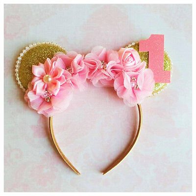 Pink and gold Minnie Mouse inspired headband,first birthday,pa
